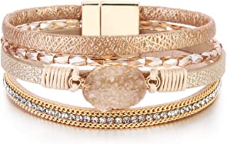 FANCY SHINY Leather Wrap Bracelet Boho Cuff Bracelets Crystal Bead Bracelet with Magnetic Clasp Jewelry Gifts for Women Te...