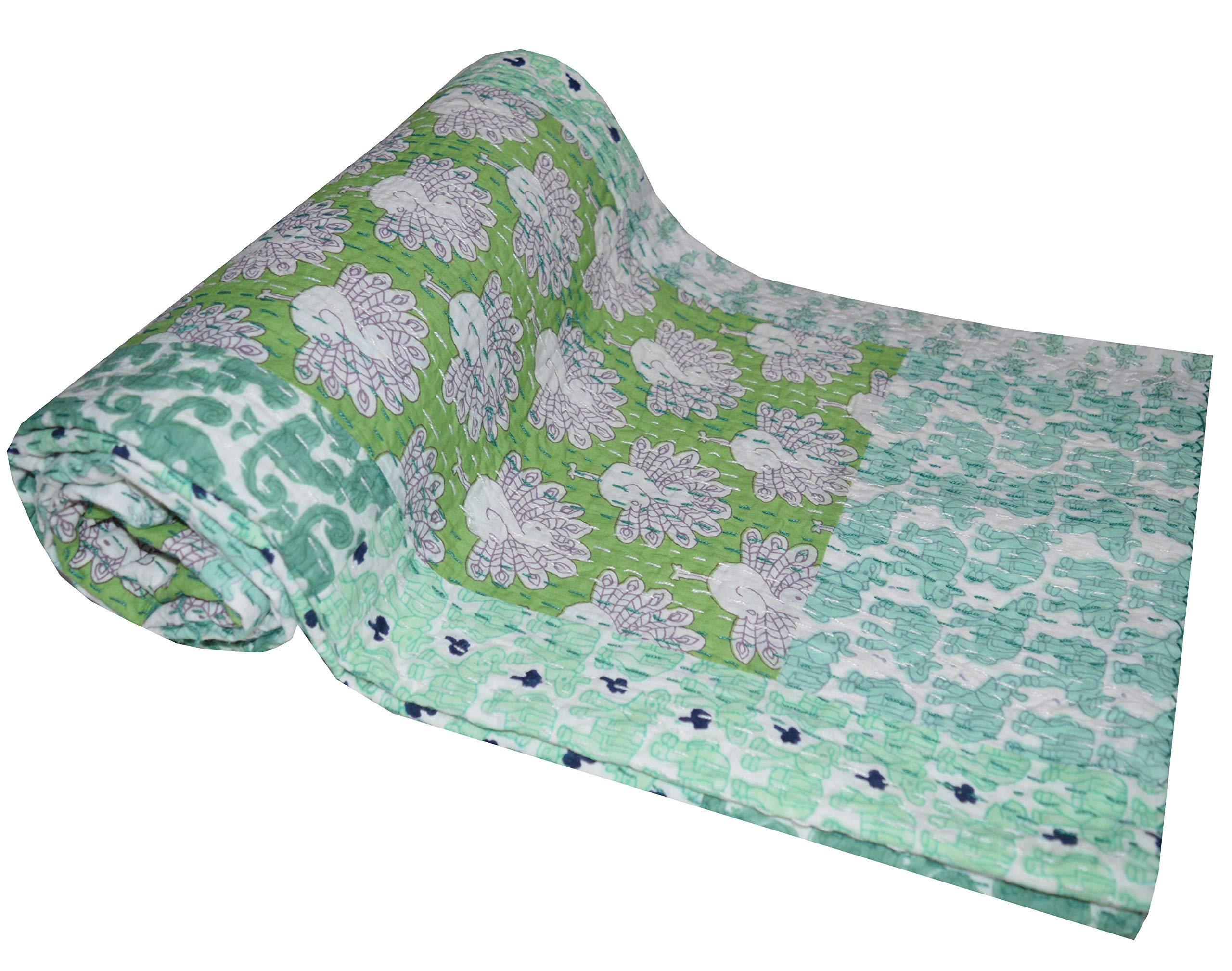 Vintage Indian Twin Kantha Quilt Handmade Patchwork Bedspread Gudri Throw Decor