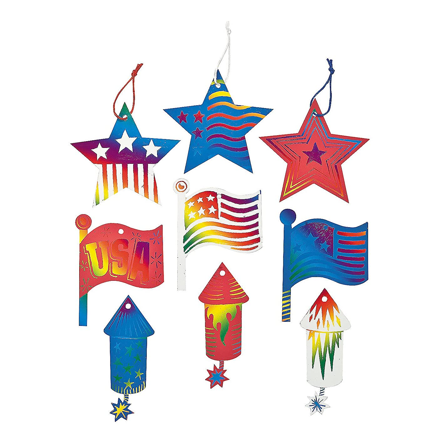 Fun Express - 4th of July Magic Scratch Ornaments for Fourth of July - Craft Supplies - Magic Scratch - Ornaments - Fourth of July - 24 Pieces
