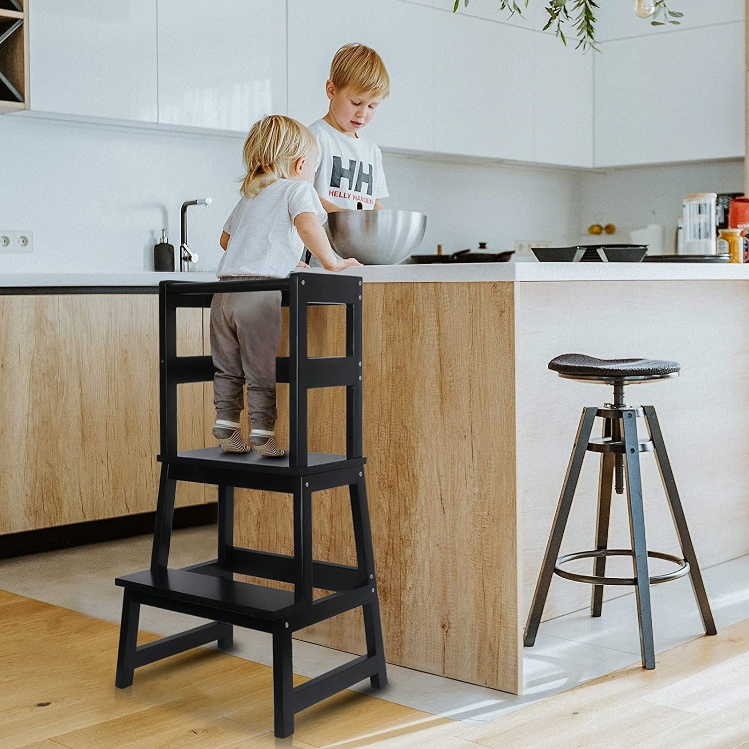 WishaLife Kids Kitchen Step Max 58% OFF Stool Toddler Safety Rail with Portland Mall