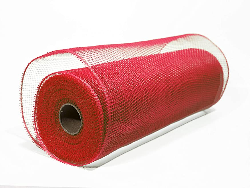 Crafter's Mesh Deco Poly Mesh Ribbon (10 Inch x 30 Feet) … (Red)