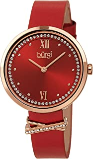 Burgi Swarovski Crystal Women's Watch - Sunray Dial with 60 Swarovski Crystals - Slim Leather Strap with Cute Crystal Tab- BUR264