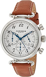 Akribos XXIV Women's Classic Chronograph Watch - Sunburst Dial - Stainless Steel Case - Embossed Alligator Pattern with Contrast Stitching Leather Strap