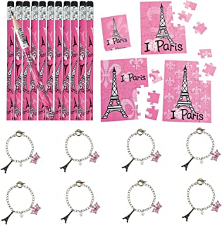 Fun Express Perfectly Paris Party Favor Bundle | Charm Bracelets, Pencils, Mini Puzzles | Great for French Themed Party, Girls Birthday Party, Gender Reveal, Parisian Party
