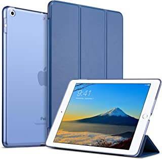ULAK iPad 9.7 Case 2018/2017, iPad 6th Generation Cases, Magnetic Cover PU Leather Trifold Stand Smart Auto Sleep Wake Transparent Hard Back Cover for iPad 9.7 iPad 5th / 6th Generation, Navy Blue