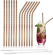 Huaka'i RVS Herbruikbare metalen rietjes, roestvrij staal, set van 12 stijlvolle koperen rietjes, 2 borstels en draagtas, ...