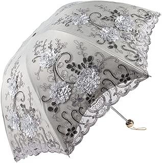 Honeystore Vintage Lace UV Sun Parasol Folding 3D Flower Embroidery Umbrella H1620 Grey