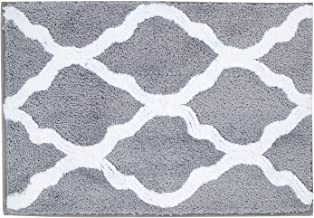 Pauwer Microfiber Bathroom Rugs Geometric Non Slip Bath Rugs Floor Mat Machine Washable (18×26 Grey)