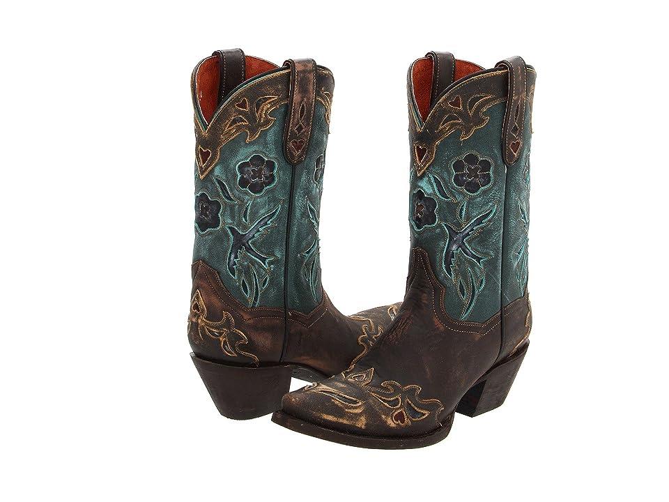 Dan Post Blue Bird (Sanded Copper/Turquoise Blue Bird) Cowboy Boots