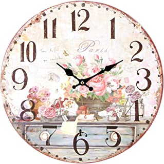 Lily's Home Vintage Inspired French Pink Flowers Kitchen Wall Clock, Battery-Powered with Quartz Movement, Ideal Gift for Paris or Coffee Lovers (13