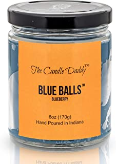 Blue Balls - Blueberry Scented Candle - Funny- 6 Ounce Jar Candle- Hand Poured in Indiana