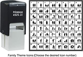 Printtoo Personalized Family Theme Icons Rubber Stamp Self Inking Stamper 24 mm-Black