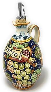CERAMICHE D'ARTE PARRINI- Ceramica italiana artistica, ampolla olio decorazione uva, dipinto a mano, made in ITALY Toscana
