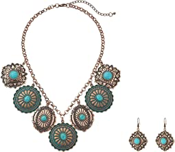 Dangle Disc Necklace/Earrings Set