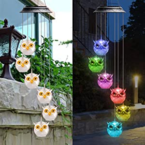 Rizzon Owl Solar Light Solar Butterfly Wind Chime Color Changing Outdoor Solar Garden Decorative LightsGifts for Mom Grandma Birthday Night Party Yard Garden Hanging Decoration(Yellow)