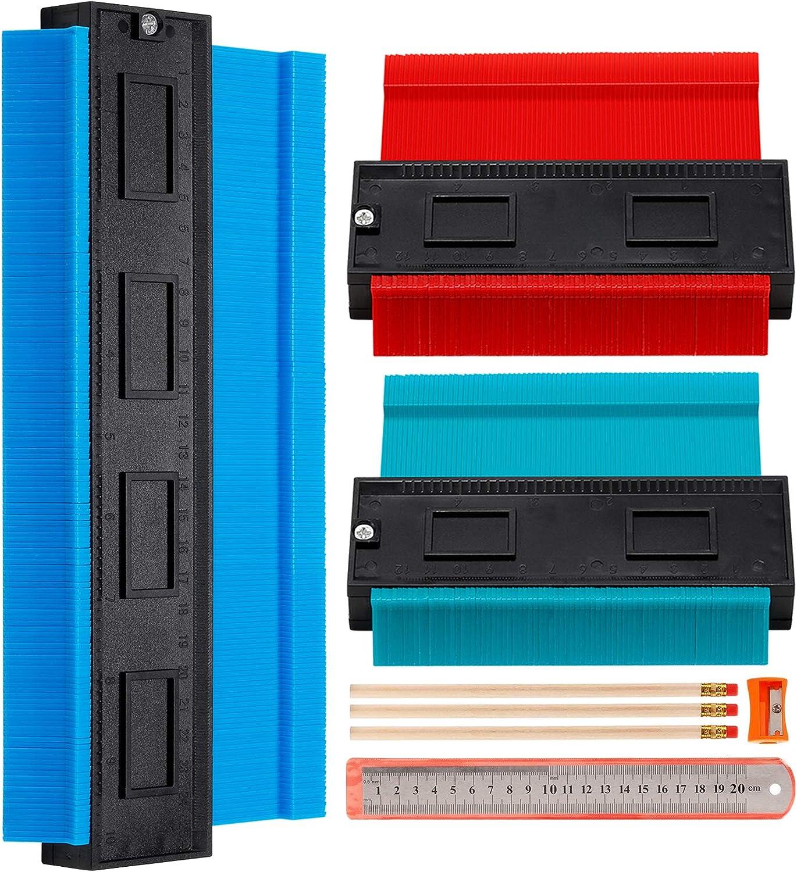 Plastic Outline Profile Shape Contour Duplications Guage Kit 2 Pcs Ultra Wide Contour Gauge Duplicator with Big Lock /& Aluminum Core 5 10 Irregular Shapes Measure Ruler Gadget Woodwork Tool Set
