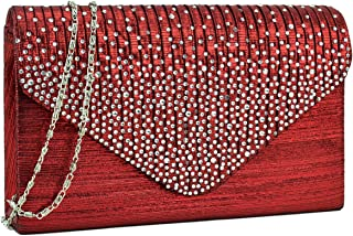 Women Rhinestone Evening Envelope Handbags Party Wedding Clutch Purses Shoulder Bags