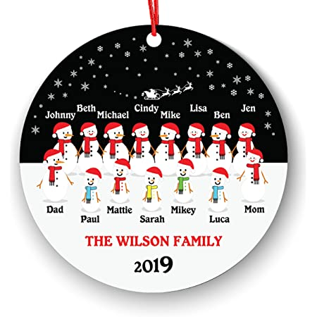 Personalized Large Family Christmas Ornament - Family of 15 Christmas Ornament - Snowman Family Up to 15 Ornament - Full Custom - Big Family Christmas - Family of 12 Ornament - Family of 11 Ornament