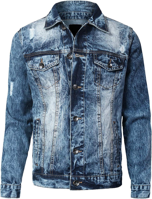 URBANCREWS Mens Hipster Hip Hop Button Down Long Sleeve Hooded Denim Jacket