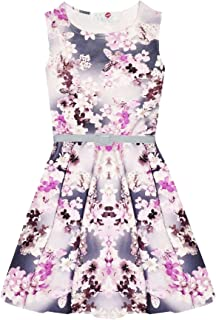 Kids Girls Skater Dress Abstract Tribal Print Party Dresses With Free Belt 7-13