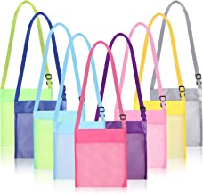 Maitys 9 Pieces Colorful Mesh Beach Bags Mesh Bag Mesh Seashell Bags Storage Bag with Adjustable Strap for Treasure Shell Toy Storage, 9 Colors