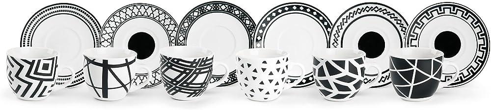 Excelsa emily, servizio di 6 tazzine da caffè con piattino, in porcellana 62711