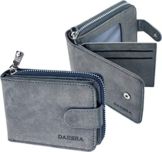 DAHSHA Imported 11 Slot Leather Credit/Debit Cards Zipper Holder Wallet with 3 ID Window for Men & Women- (12 x 4 x 8 cm, Grey)