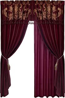 Chezmoi Collection Royale 4-Piece Jacquard Floral Window Curtain/Drape Set Sheer Backing Tassels Valance, Maroon/Gold