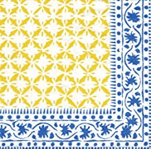 Entertaining with Caspari Al Fresco Paper Lunch Napkin, 20-Count, Blue/Yellow