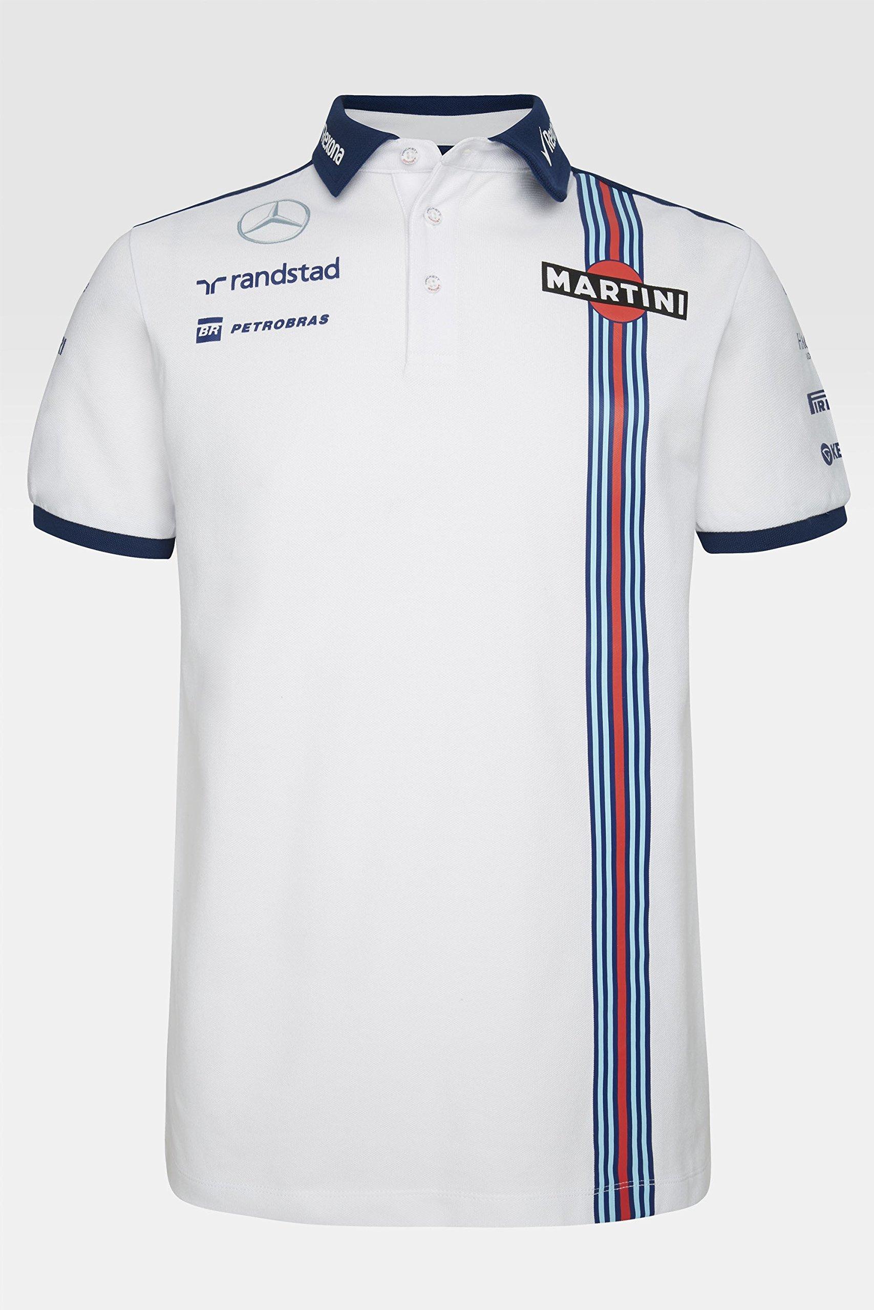 Williams Martini Racing F1 Team Replica Polo Camiseta, fórmula 1, Valtteri Bottas, Felipe Massa, Color Blanco/Azul, Blanco/Azul, Extra-Large: Amazon.es: Deportes y aire libre
