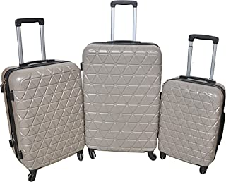 New Travel AXS98-3 Abs Trolley Hardside Spinner 3 Piece Set Luggage, Beige