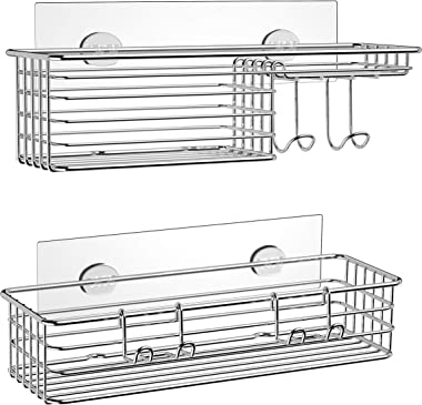SMARTAKE 2-Pack Shower Caddy, Combined Bathroom Shelf with Soap Dish and Hooks for Hanging Razor Brush Sponge, Wall Mounted R