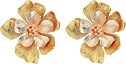 Oscar de la Renta - Bold Flower Button C Earrings