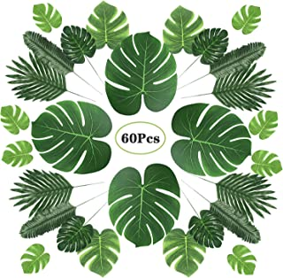 Homai 60 Pcs 6 Kinds Artificial Palm Leaves Faux Monstera Leaves with Stems Tropical Plant Simulation Leaves for Safari Baby Shower Hawaiian Luau Party Jungle Beach Theme Party Table Leave Decorations