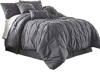 Chezmoi Collection Com Sydney 7-Piece Pintuck Bedding Comforter Set (Full, Gray)