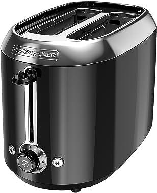 Black + Decker tr1300bd 2 rebanadas-Slice extra ranura ancha de Bagel, tostador Tostadora, acero inoxidable/negro