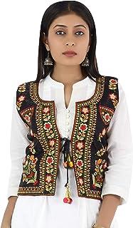 Trendish Women's Cotton Kutchi Multi Colored Embroidery Work Jacket (Black_Medium Size)