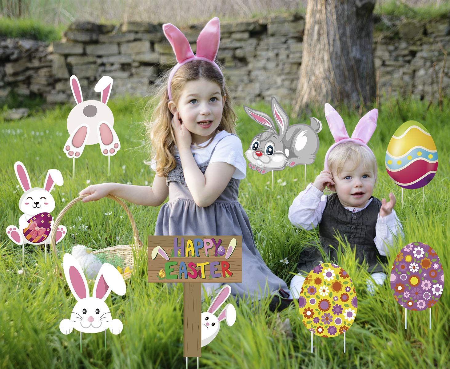 LUCKKYY 8 Piezas de letreros de Pascua para decoración de Conejo al Aire Libre, Huevos de estaca para jardín, decoración para Pascua, Juego de césped, Suministros para Fiestas de Pascua: Amazon.es: Jardín
