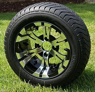 "12"" VAMPIRE Black/Machined Golf Cart Wheels and 215/50-12 DOT Golf Cart Tires - Set of 4"