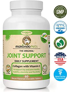 Makondo Pets Joint Support Supplement for Dogs and Cats-Bacon Flavor Chewables with Collagen Concentrate and Vitamin C to Help Increase Joints Health, Mobility, Elasticity and Flexibility-60 Tablets