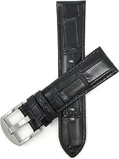 18mm - 24mm bracelet de montre pour hommes en cuir véritable, motif crocodile, disponible en marron, noir et brun-roux