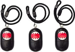 Black Sirena Emoji Personal Panic Alarm + Emergency Flashlight 3-Pack with Wrist/Bag Strap, 130dB Alarm, Pocket Self-Defense Safety Alarm with Ripcord for Women, Kids and Elders.