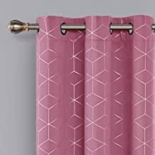 Deconovo Blackout Curtain Room Darkening Thermal Insulated Curtains Grommet Silver Diamond Foil Print Window Curtain for Bedroom Pink 42x84 Inch 2 Panels