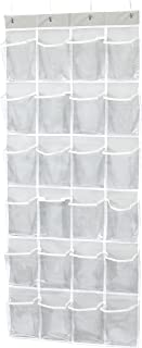 """Simple Houseware 24 Pockets Large Clear Pockets Over The Door Hanging Shoe Organizer, Gray (56"""" x 22.5"""")"""