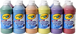 Crayola Washable Paint, 16 Oz Plastic Squeeze Bottles, 1 Each of 12 Assorted Colors