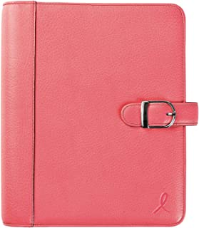 """$139 » Day-Timer Loose-Leaf Organizer Set, 5-1/2"""" x 8-1/2"""", Leather Cover, Breast Cancer Awareness Pink Ribbon (48434)"""
