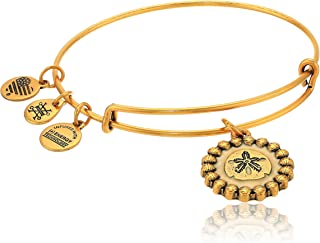 Alex and Ani Women's Color Infusion Sand Dollar Charm Bangle Bracelet, Rafaelian Gold, Expandable