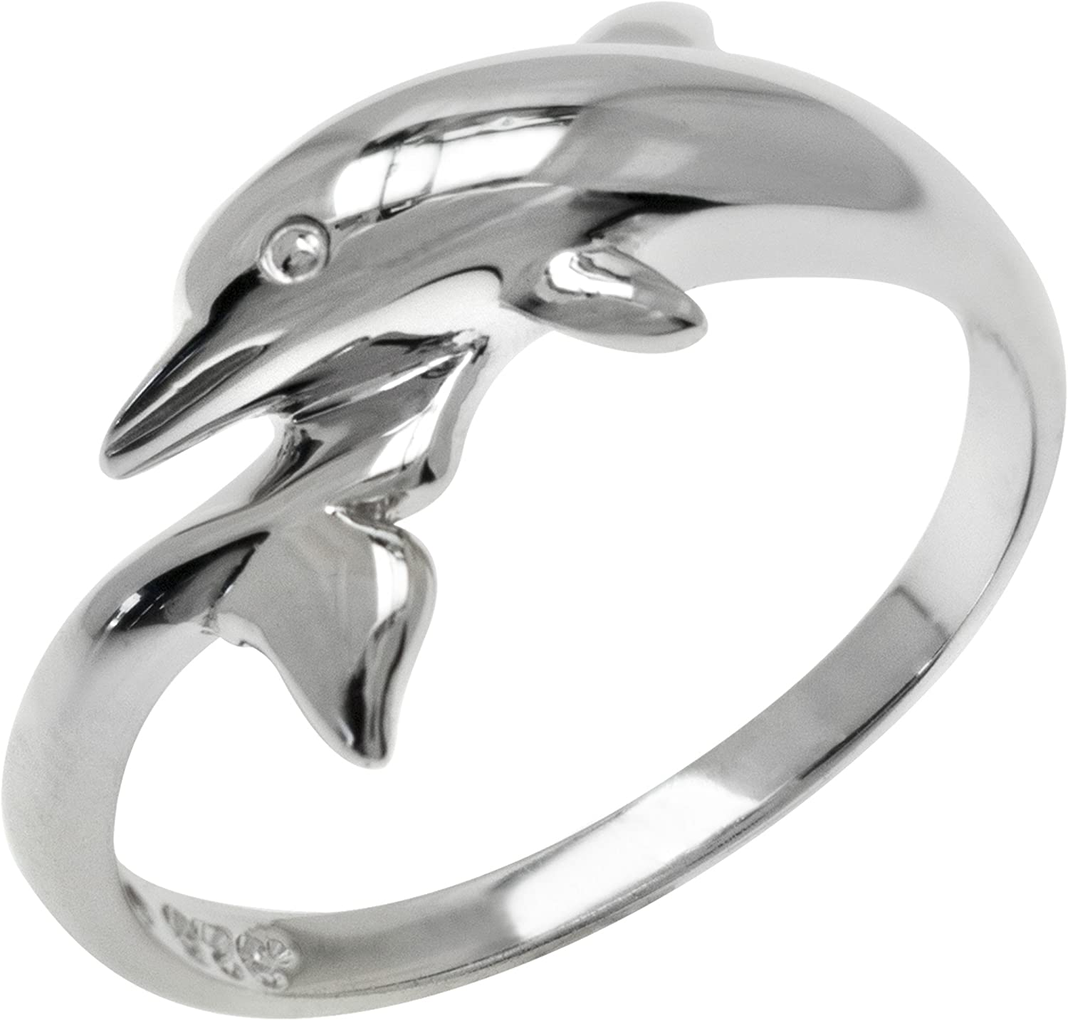 20. Sterling Silver Sea Dolphin Charm Ring