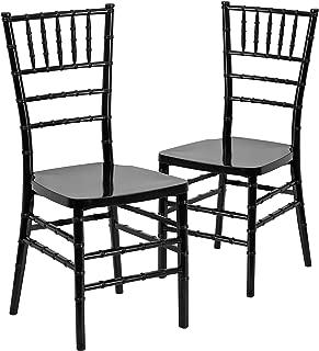 Flash Furniture 2 Pk. HERCULES PREMIUM Series Black Resin Stacking Chiavari Chair
