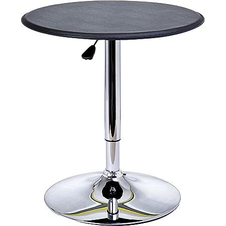 HOMCOM Table de Bar Table Bistro Chic Style Contemporain Table Ronde Hauteur réglable 67-93 cm Ø 63 cm métal chromé PVC Noir